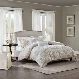 Suzanna Cotton Comforter Queen Mini Set in Taupe