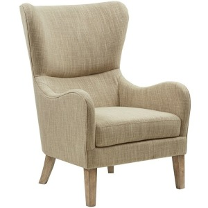 Arianna Swoop Wing Chair - Taupe Multi