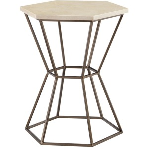 Dominica Accent Table - Cream Antique Bronze