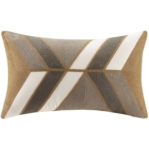 Aero Embroidered Abstract Oblong Pillow - Natural