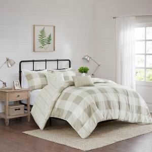 Morrison 5 Piece King Reversible Buffalo Check Comforter Set - Taupe