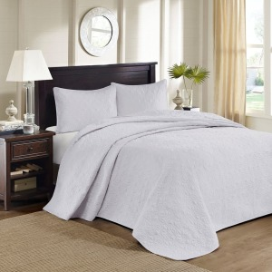 Quebec Queen Reversible Bedspread Set - White