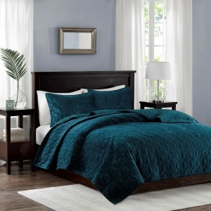 Harper Faux Velvet Reversible 3 Piece Coverlet Set - Full/Queen - Teal