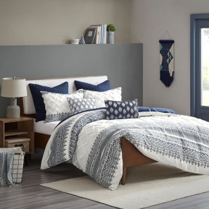 Mila Cotton Printed  King/Cal King Comforter Set with Chenille - Navy