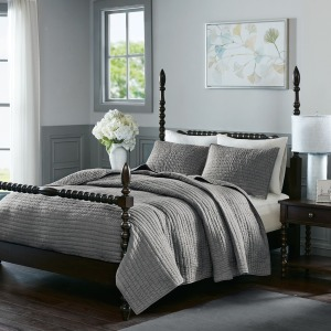 Serene Cotton Hand Quilted King Coverlet Set - Grey