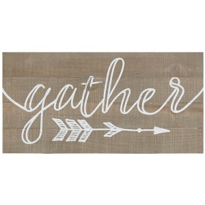 Rustic Gather Print On Real Wood Plank