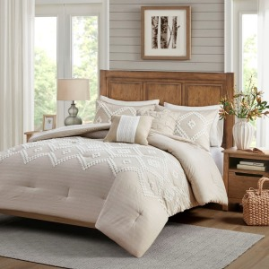 Teague 5 Piece Cotton Comforter Set - Full/Queen Taupe