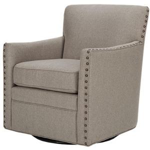 Devrim Herringbone Texture Swivel Chair - Natural