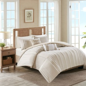 Anslee 3 Piece Queen/Full Cotton Yarn Dyed Comforter Set - Taupe