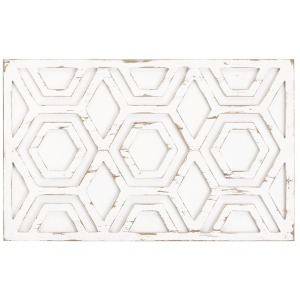 Ralston Wooden Wall Art with Pattern - White