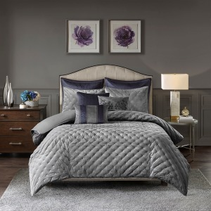 Sophisticate Velvet Queen Comforter Set in Grey