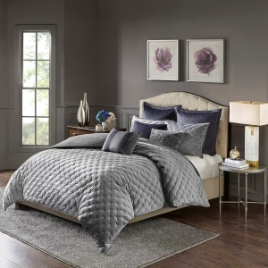 Sophisticate Velvet King Comforter Set in Grey
