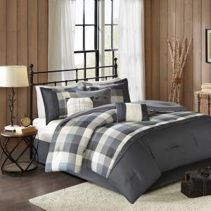 Ridge 7 Piece Herringbone Comforter Set - Queen - Grey