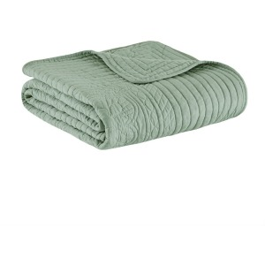 Tuscany Oversized Quilted Throw with Scalloped Edges - Seafoam