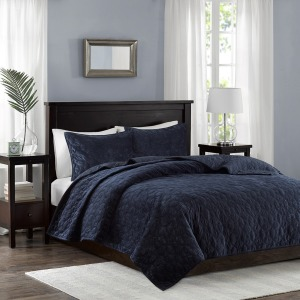 Harper Faux Velvet Reversible 3 Piece Coverlet Set - Full/Queen - Navy