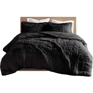 Malea Shaggy Faux Fur King/Cal King Comforter Set - Black