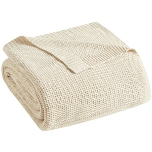 Bree Knit Throw - Ivory
