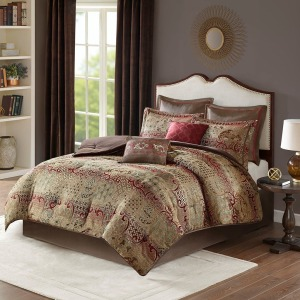 Hickory 8 Piece Chenille Jacquard King Comforter Set - Red