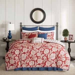 Lucy 9 Piece Cotton Twill Reversible Queen Comforter Set - Red