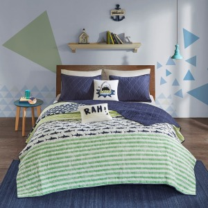 Finn Cotton Reversible Coverlet Set - Full/Queen