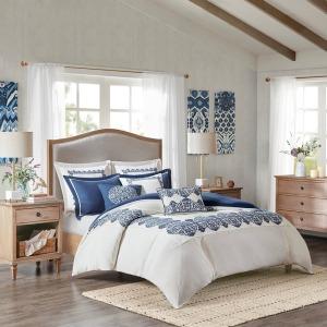 Indigo Sky Faux Linen Oversized Comforter Set  - Queen