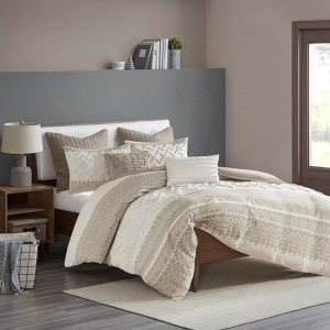 Mila Cotton Printed Comforter Set with Chenille - King/Cal King Taupe