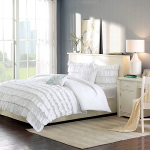 Waterfall Full/Queen Comforter Set - White