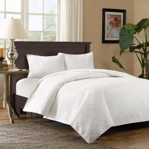 Corrine 3 Piece Reversible Mini Coverlet Set - Full/Queen - White