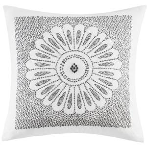 Sofia Cotton Embroidered Decorative Square Pillow - Grey