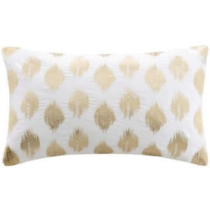 Nadia Dot Metallic Gold Embroidery Oblong Pillow - Gold