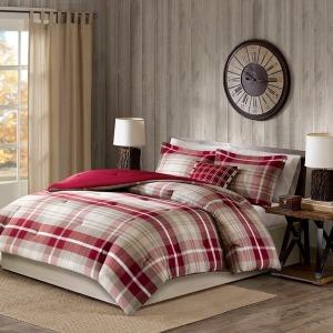 Sheridan Oversized Cotton King Comforter Set - Tan/Red