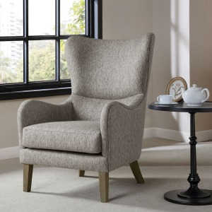 Arianna Swoop Wing Chair - Grey