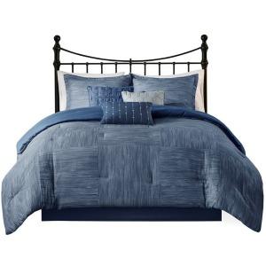 Walter 7 Piece Printed Seersucker Queen Comforter Set - Navy