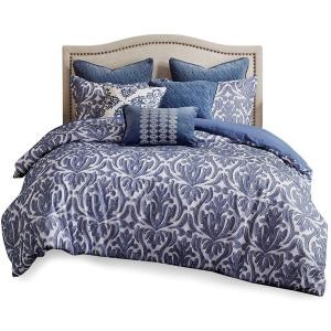 Maison Cotton Clip Jacquard Damask Queen Comforter Set - Blue