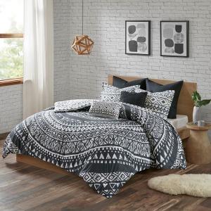 Larisa 7 Piece King/Cal King Cotton Reversible Comforter Set - Black