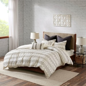 Rhea Cotton Jacquard King/Cal King Comforter Mini Set - Ivory & Charcoal
