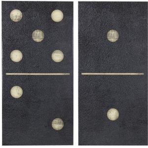 Two Black Dominos 2 Piece Set Gel Coat Printed on Canvas