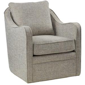 Brianne Slub Weave Wide Seat Swivel Arm Chair - Grey Multi