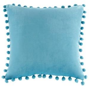Juni Poly Velvet Pom Pom Square Pillow - Aqua