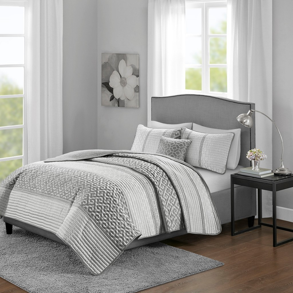 Bennett 4 Piece Reversible Jacquard Coverlet Set Full Queen Grey By Olliix Moore Furniture