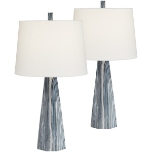 Blue Stone Table Lamp - Set of 2