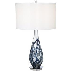 Indigo Swirl Art Glass Table Lamp