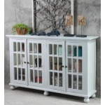 Glazed 4 Panel Credenza - Fossil Grey / Whitewash