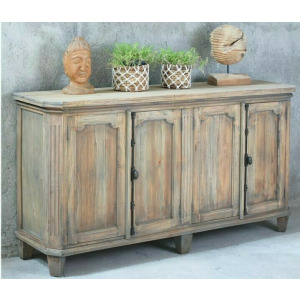 Raised Panel Credenza - Driftwood