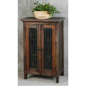 Glazed Hall Cabinet - Raftwood Black Wash