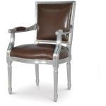 Lyon Square Back Arm Chair, Silver Leaf