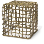 Steel Grid Square Stool, Gold