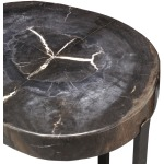 Black Petrified Wood Accent Table, Large