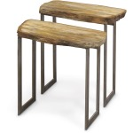 Petrified Wood Rectangular Waterfall Table, Set Of 2