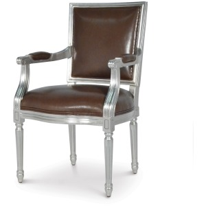 Lyon Square Back Arm Chair, Silver Leaf
